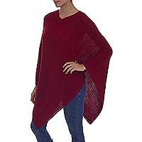 100% alpaca poncho, 'Enchanted Evening in Claret' - Knit Claret 100% Alpaca Poncho from Peru