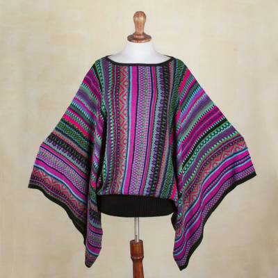 Striped kimono sleeve sweater, 'Butterfly Dance' - Knit Multicolor Striped Pullover Sweater from Peru