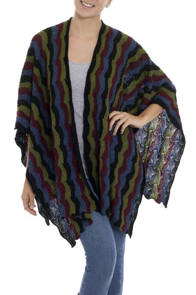 100% baby alpaca ruana, 'Cozy Stripes' - Multicolor Striped 100% Baby Alpaca Ruana from Peru