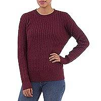 Alpaca blend sweater, 'Maroon Elegance' - Maroon Alpaca Blend Pullover Sweater from Peru