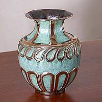 Copper and bronze decorative vase, 'Moment of Wonder' - Oxidized Copper and Bronze Decorative Vase from Peru