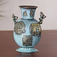 Copper and bronze decorative vase, 'History of Warriors' - Copper and Bronze Antiqued Decorative Vase from Peru