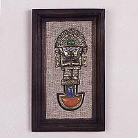 Gemstone-accented wall art, 'Colorful Tumi' - Cultural Gemstone Tumi Wall Art from Peru