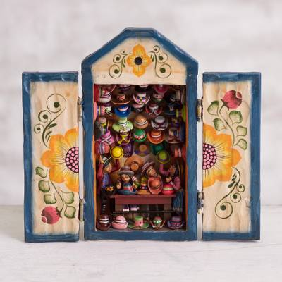 Wood retablo, 'Hat Shop' - Hand-Painted Wood Retablo of a Hat Shop from Peru