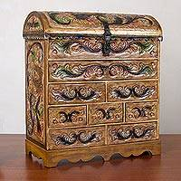 Leather and cedar wood jewelry chest, 'Flight of the Bird' - Embossed Leather and Cedar Wood Jewelry Chest from Peru