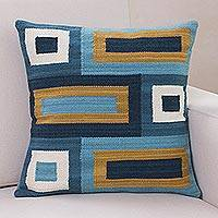 Wool cushion cover, 'Geometric Breeze' - Handmade 100% Wool Geometric Shapes Cushion Cover from Peru
