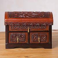 Cedar and leather jewelry chest, 'Mystery and Mythology' - Handcrafted Cedar and Leather Jewelry Chest from Peru