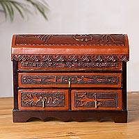 Cedar and leather jewelry chest, 'Mysterious Nazca' - Handcrafted Cedar and Leather Jewelry Box from Peru