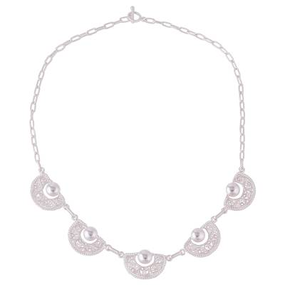 Sterling Silver Filigree Semicircle Pendant Necklace