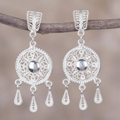 Sterling silver filigree chandelier earrings, 'Sparkling Full Moons' - Sterling Silver Filigree Circular Chandelier Earrings