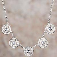 Sterling silver filigree pendant necklace, 'Sparkling Full Moons' - Sterling Silver Filigree Circular Pendant Necklace from Peru