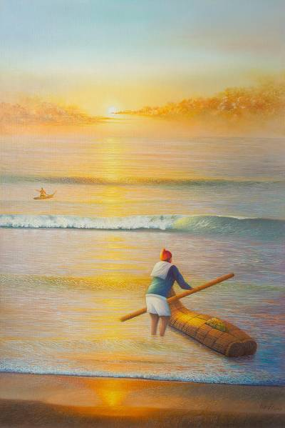 'Sunset Poem' (2016) - 2016 Realist Painting of Fishermen and the Sea from Peru