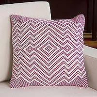 Wool blend cushion cover, 'Pastel Geometry in Fuchsia' - Wool Blend Cushion Cover in Fuchsia and Ivory from Peru