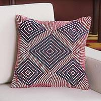 Wool blend cushion cover, 'Geometric Majesty' - Wool Blend Cushion Cover in Crimson and Azure from Peru