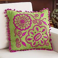Alpaca blend cushion cover, 'Fuchsia Joy' - Alpaca Blend Floral Cushion Cover in Fuchsia from Peru