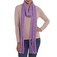 100% alpaca scarf, 'Lilac Queen' - Hand-Crocheted 100% Alpaca Scarf in Lilac from Peru