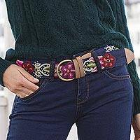 Leather accented wool and cotton belt, 'Flower Fashion' - Hand-Embroidered Wool Accent Floral Cotton Belt from Peru