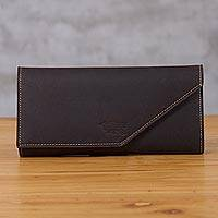 Leather wallet, 'Chocolate Style' - Handcrafted Leather Wallet in Solid Chocolate from Peru