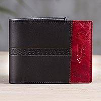 Leather wallet, 'Crimson History' - Handcrafted Leather Wallet in Black and Crimson from Peru
