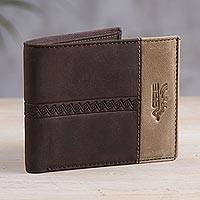 Leather wallet, 'Golden Brown History' - Handcrafted Leather Wallet in Espresso from Peru