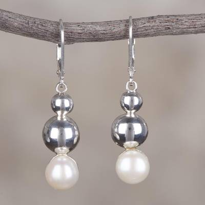 Cultured pearl dangle earrings, 'Harmonious Bubbles' - Cultured Pearl and Sterling Silver Dangle Earrings from Peru