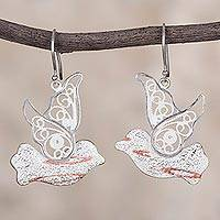 Sterling silver filigree dangle earrings, 'Freedom of the Sky' - Sterling Silver and Copper Filigree Bird Earrings from Peru