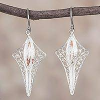 Sterling silver filigree dangle earrings, 'Kite Glamour' - Sterling Silver and Copper Filigree Kite Earrings from Peru