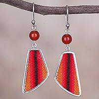 Agate and wool blend dangle earrings,
