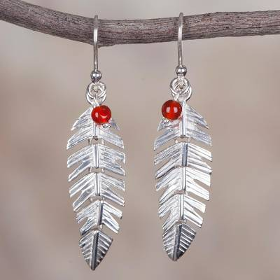 Agate dangle earrings, 'Silver Feathers' - Sterling Silver and Agate Feather Dangle Earrings from Peru