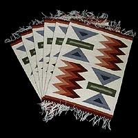 Wool placemats, 'Inca Highlands' (set of 6) - Wool placemats (Set of 6)