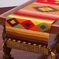 Wool blend table runner, 'Brilliant Sunset' - Artisan Crafted Wool Blend Geometric Table Runner from Peru