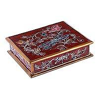 Reverse-painted glass decorative box, 'Dragonfly Fantasy in Red' - Reverse-Painted Glass Dragonfly Box in Red from Peru