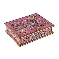 Reverse-painted glass decorative box, 'Dragonfly Fantasy in Pink' - Reverse-Painted Glass Dragonfly Box in Pink from Peru