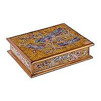 Reverse-painted glass decorative box, 'Dance on the Wind in Yellow' - Reverse-Painted Glass Dragonfly Box in Yellow from Peru