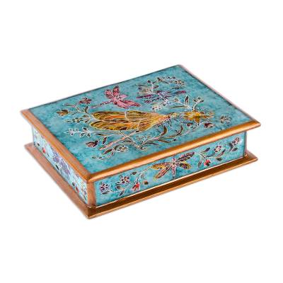 Reverse-painted glass decorative box, 'Dragonfly Sky' - Reverse-Painted Glass Dragonfly Box in Light Blue from Peru