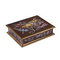 Reverse-painted glass decorative box, 'Dance on the Wind' - Reverse-Painted Glass Dragonfly Box in Brown from Peru