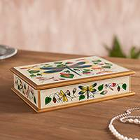Reverse-painted glass decorative box, 'Dragonflies in Summer Clouds' - Andean White Reverse Painted Glass Box with Dragonflies