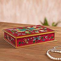 Reverse painted glass decorative box, 'Dragonfly World in Cherry' - Reverse Painted Glass Dragonfly Box in Cherry from Peru