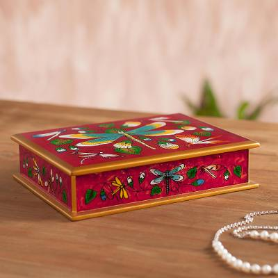 Reverse-painted glass decorative box, 'Dragonfly World in Cherry' - Reverse-Painted Glass Dragonfly Box in Cherry from Peru