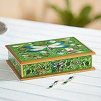 Reverse painted glass decorative box, 'Dragonfly World in Green' - Reverse Painted Glass Dragonfly Box in Green from Peru
