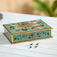 Reverse painted glass decorative box, 'Dragonfly' - Turquoise Reverse Painted Glass Decorative Box from Peru