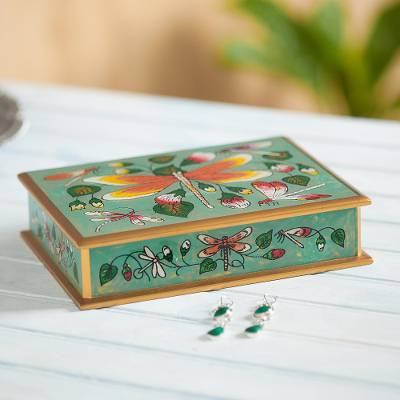 Reverse painted glass decorative box, 'Dragonfly World in Turquoise' - Turquoise Reverse Painted Glass Decorative Box from Peru