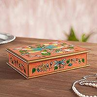 Reverse painted glass decorative box, 'Dragonfly World in Pink' - Reverse Painted Glass Dragonfly Box in Pink from Peru