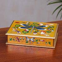 Reverse painted glass decorative box, 'Dragonfly World in Tangerine' - Andean Reverse Painted Glass Dragonfly Box in Tangerine