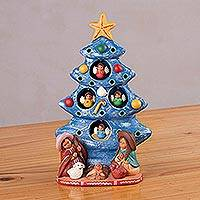Ceramic nativity scene, 'Birth Beneath the Blue Tree' - Ceramic Christmas Nativity Scene in Blue from Peru