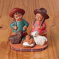 Ceramic decorative accent, 'Countryside Nativity' - Painted Ceramic Nativity Scene Decorative Accent from Peru