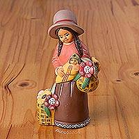 Ceramic sculpture, 'Andean Florist' - Hand-Painted Ceramic Sculpture of an Andean Woman from Peru