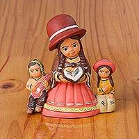 Ceramic sculpture, 'Mother Teacher' - Hand-Painted Ceramic Andean Sculpture from Peru