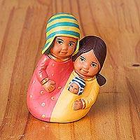 Ceramic decorative accent, 'United Family' - Pastel-Colored Ceramic Decorative Accent from Peru