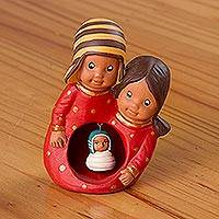Ceramic nativity scene, 'Andean Family' - Red Ceramic Nativity Scene Decorative Accent from Peru